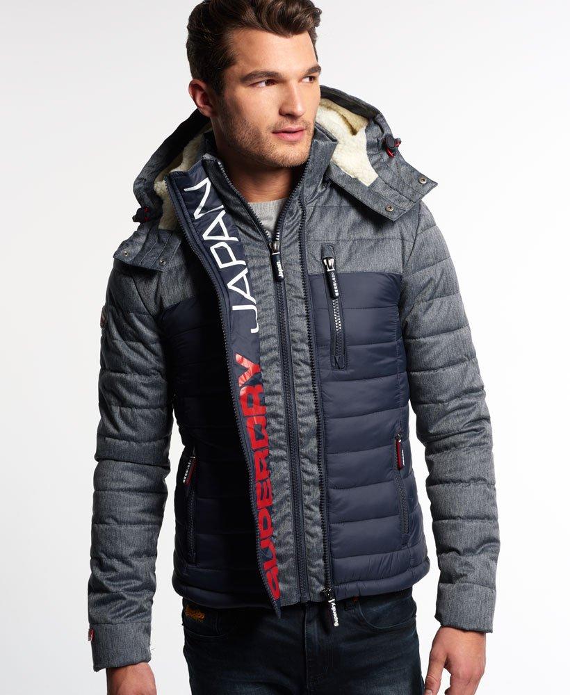 Mens Fuji Mix Double Zip Hooded Jacket in Navy | Superdry