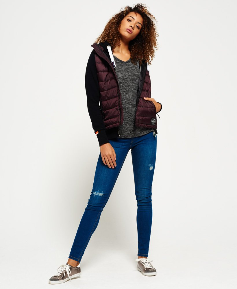 New Womens Superdry Core Luxe Gilet Deep Plum