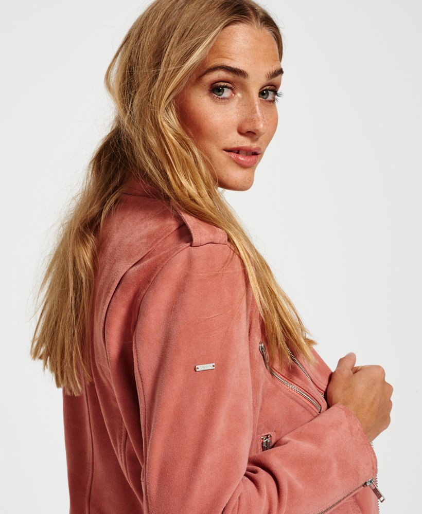 Details about Superdry Leather Jacket Women Piper Suede Biker Light Grey
