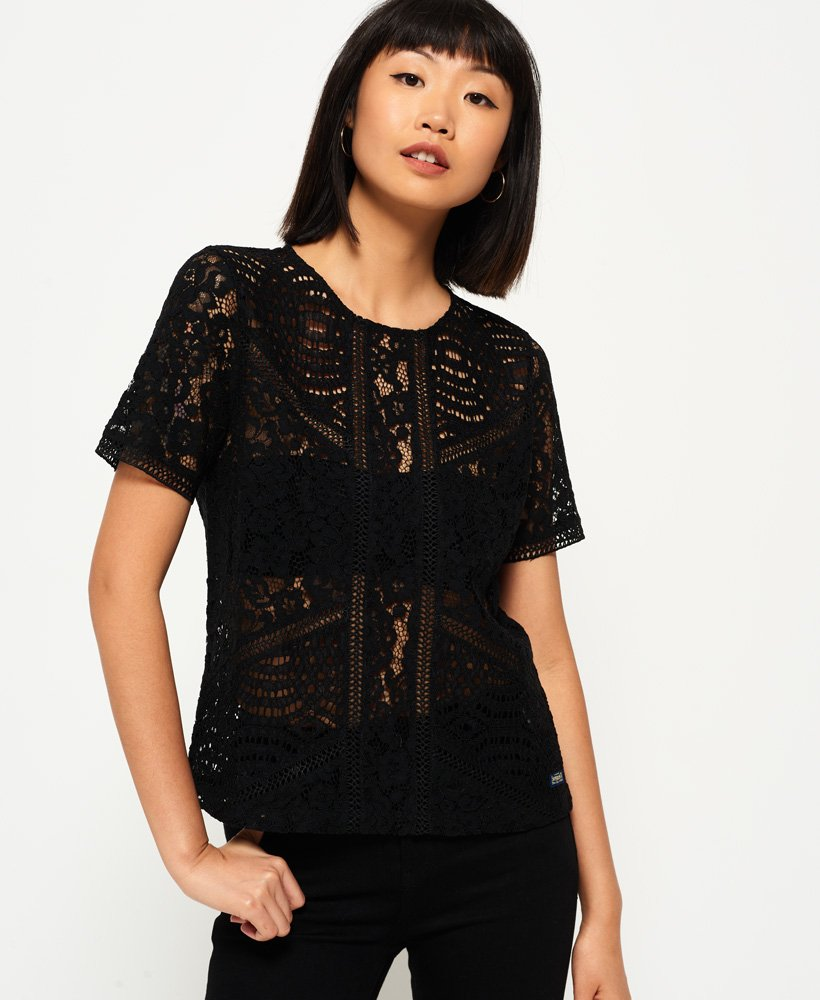 Superdry Orchid Lace Panelled Top thumbnail 1