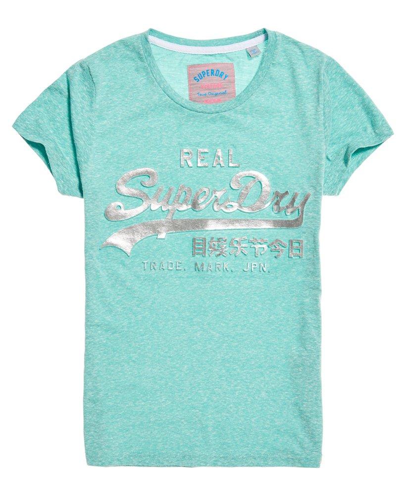 Superdry Ladies Vintage Logo Embossed Foil T-Shirt in Mint
