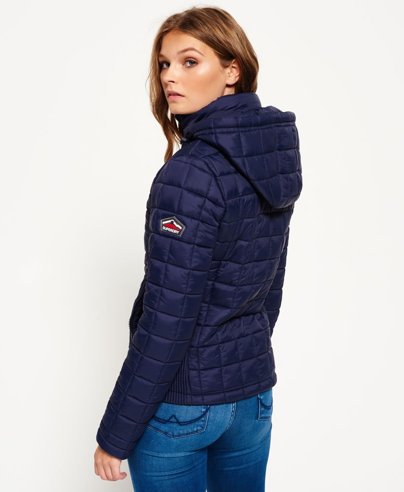 Womens Hooded Box Quilt Fuji Jacket In Ink Superdry