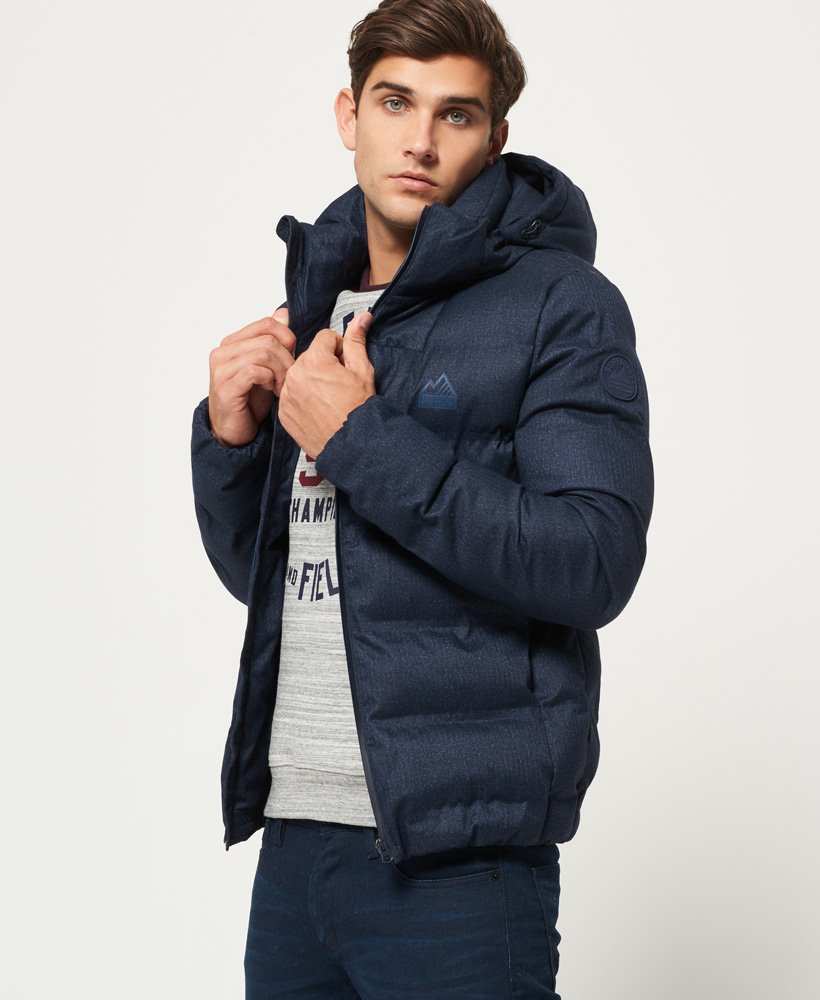 Mens - Echo Quilt Puffer Jacket in Navy Texture Print   Superdry 1beec21a9e5b