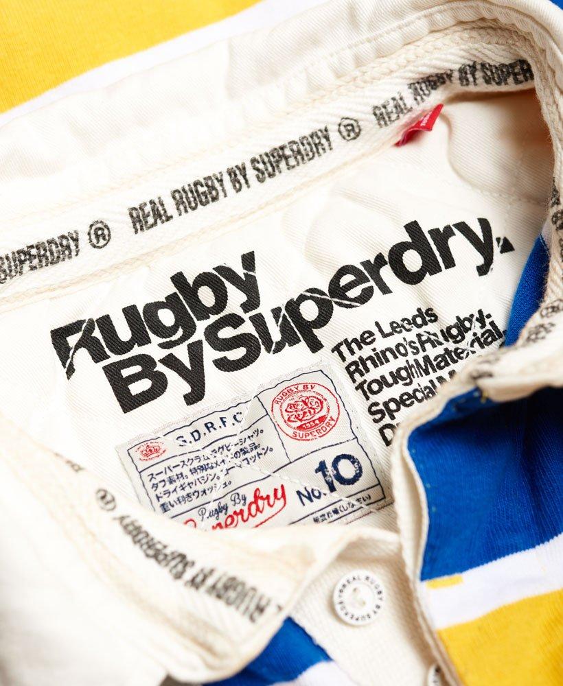 Leeds Rhinos Scrum Stripe Rugby Shirt In Cobalt: Superdry Leeds Rhinos Scrum Stripe Rugby-Shirt