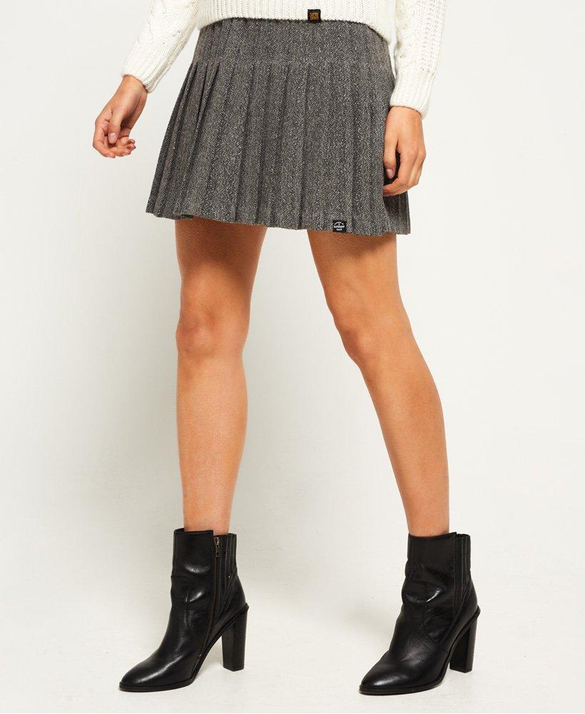 368098b62 Womens - Pleated Tweed Skirt in Herringbone | Superdry