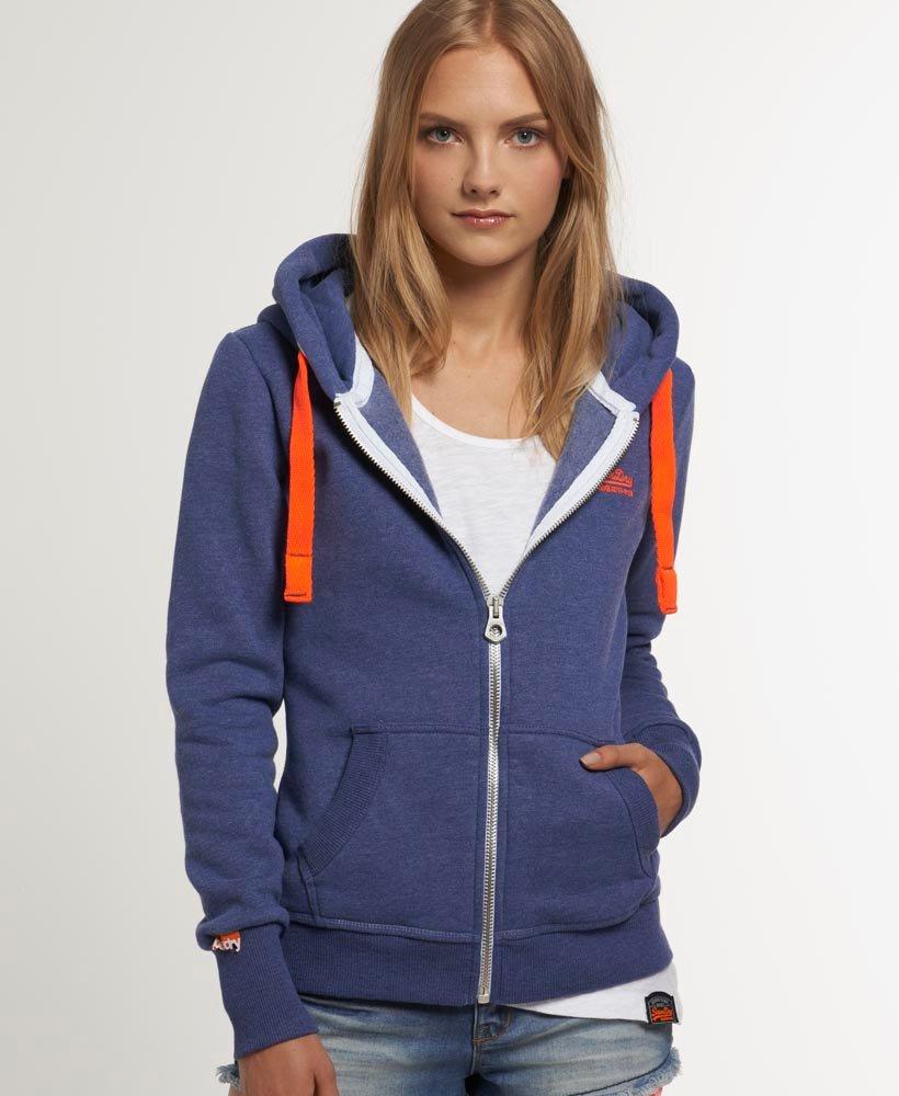 f0bf2740ce419 Womens - Orange Label Zip Hoodie in Loom Blue Marl | Superdry