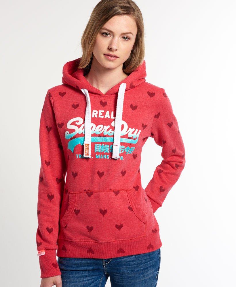 Superdry Vintage Logo All Over Print Hoodie Pink | Superdry