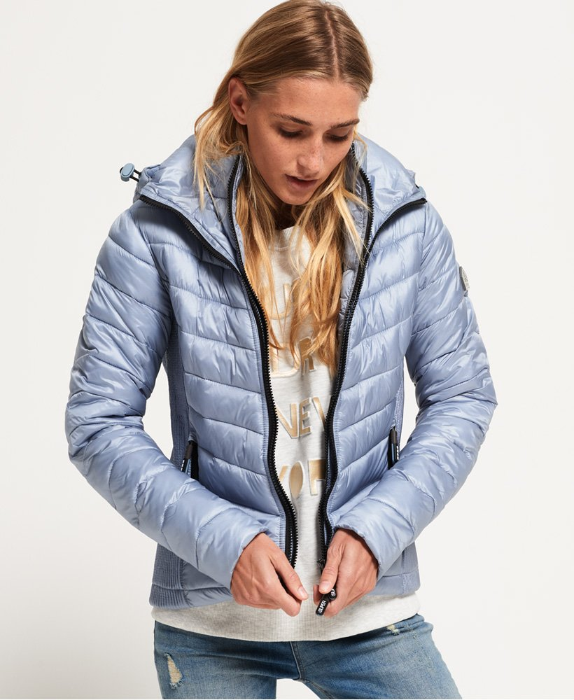 Superdry Luxe Fuji Fur Hooded Puffer Jacket Blue New 12