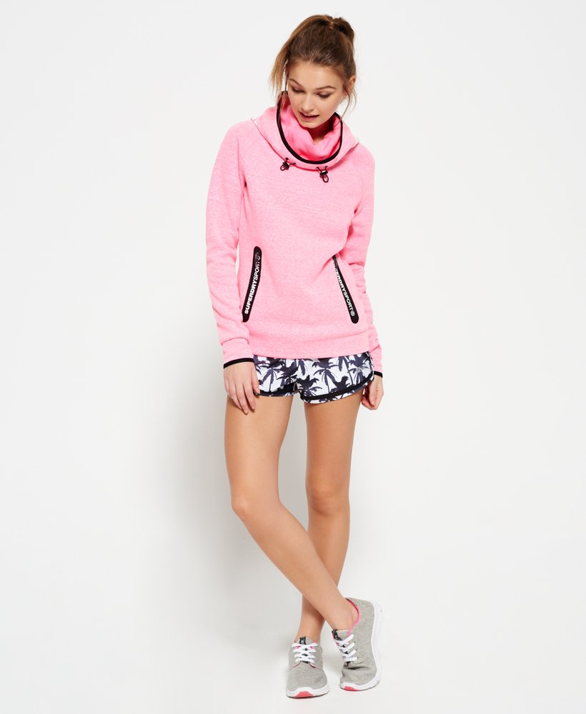 New Womens Superdry Gym Tech Cowl Hoodie New Neon Pink Grit