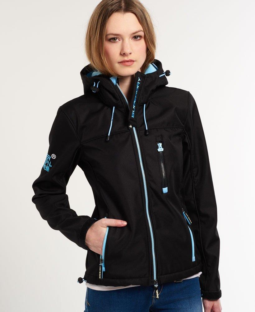 the best attitude 55ef5 edb63 Womens - Hooded Windtrekker Jacket in Black Marl / Baby Blue ...