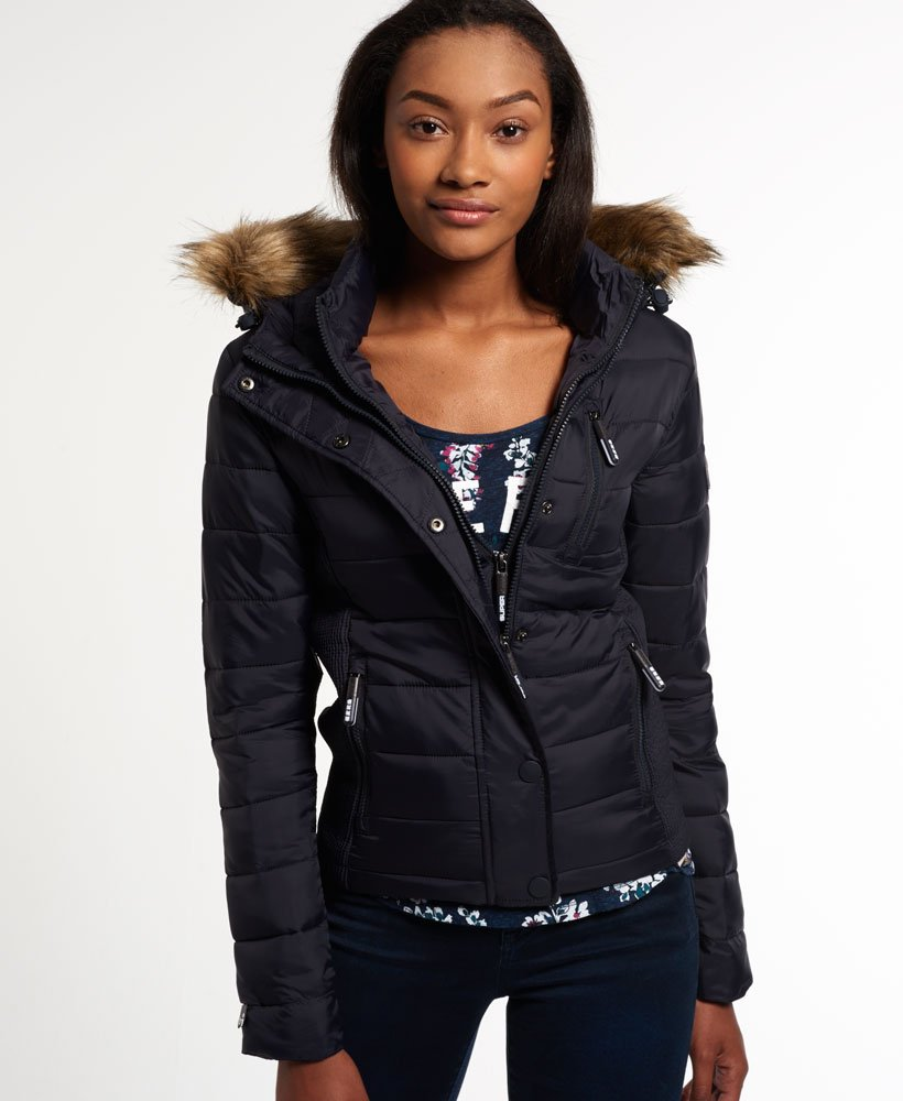 Womens Fuji Slim Double Zip Hood Jacket in Navywhite