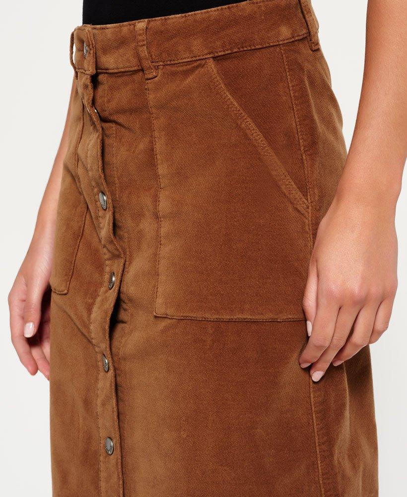 Superdry Womens A-Line Midi Cord Skirt