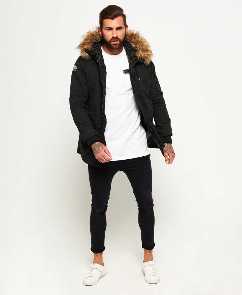 d924e9a43 Mens - Rookie Heavy Weather Parka Jacket in Bitter Black | Superdry