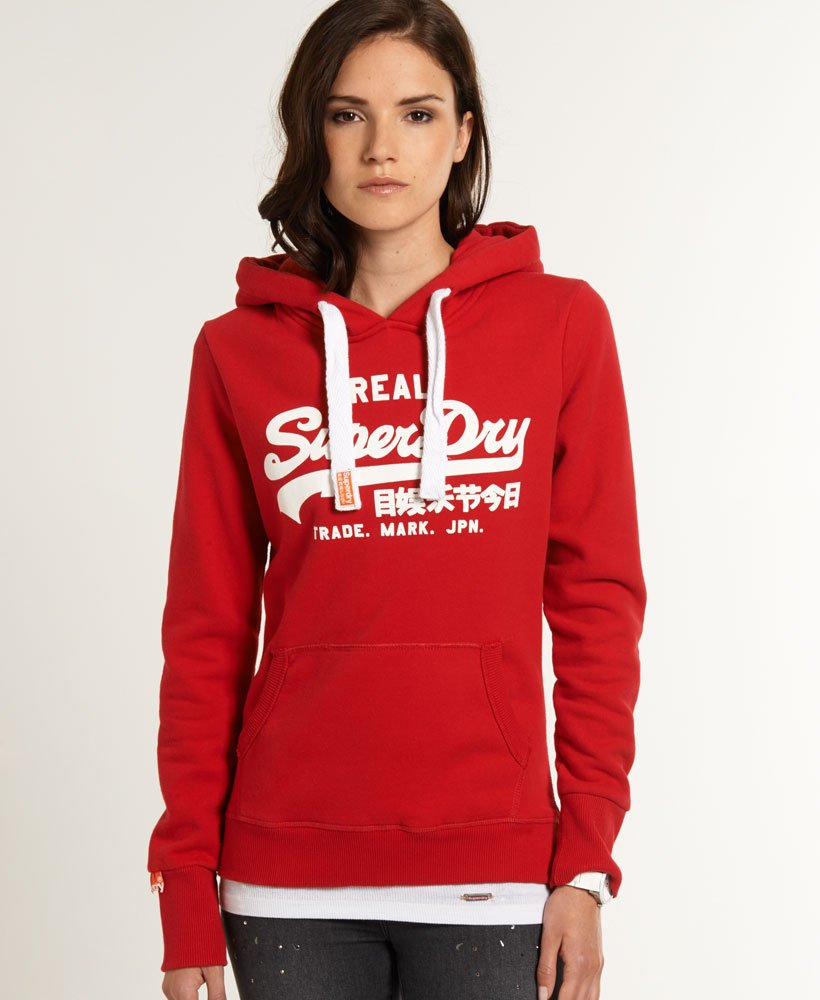 new style 07aca 9ea20 Womens - Vintage Logo Hoodie in Rich Scarlet | Superdry