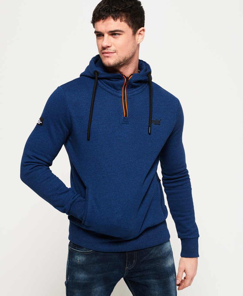 Superdry Men/'s Orange Label Urban Half Zip Hoodie Blue