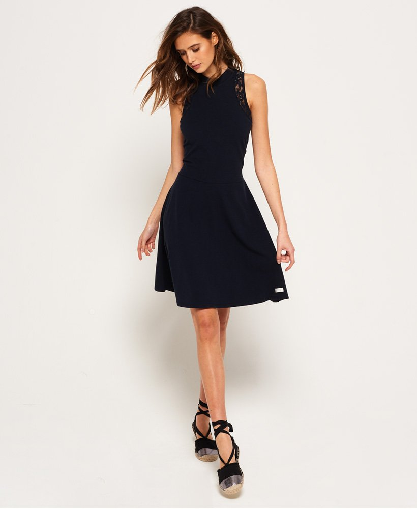 a03d3f0bf37f1 Womens - Sophia Lace Skater Dress in Eclipse Navy   Superdry