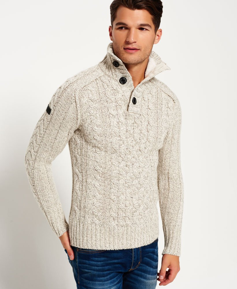Superdry Mega Cable Henley Sweater Mens Sweaters