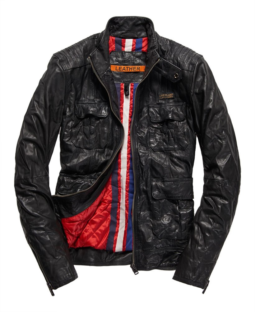 Superdry Cazadora de cuero Ryan Four Pocket