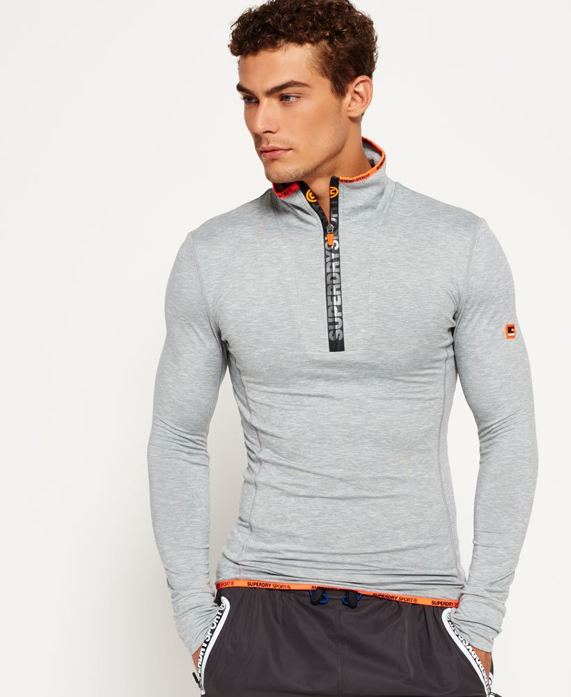 Superdry Sports Athletic Zip Henley Top thumbnail 1