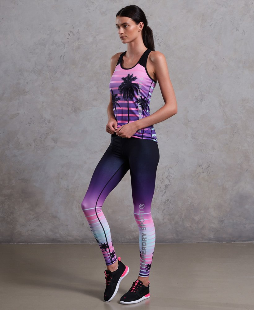 Sportlegging Xs.Womens Sport Printed Leggings In Ombre Palm Print Superdry