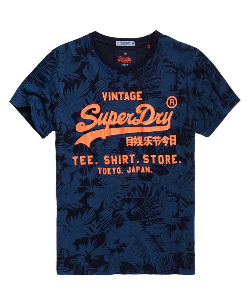 Superdry Shirt Shop Indigo All Over Print T-Shirt
