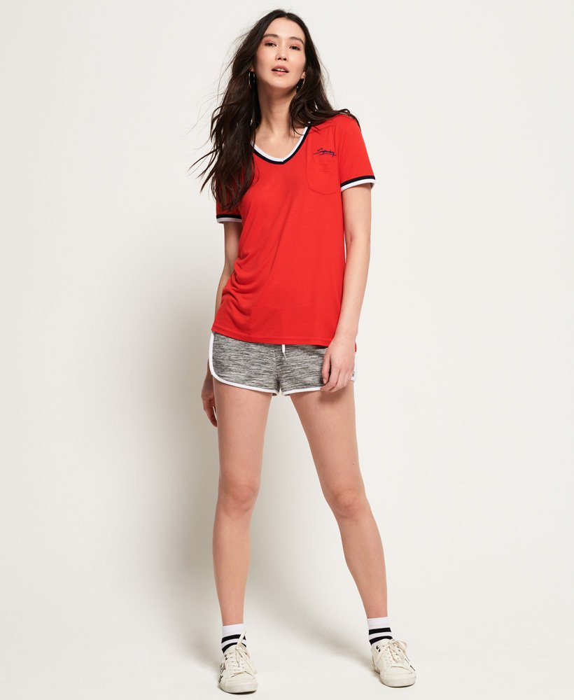 Superdry Retro T shirt med V hals Damer T shirts