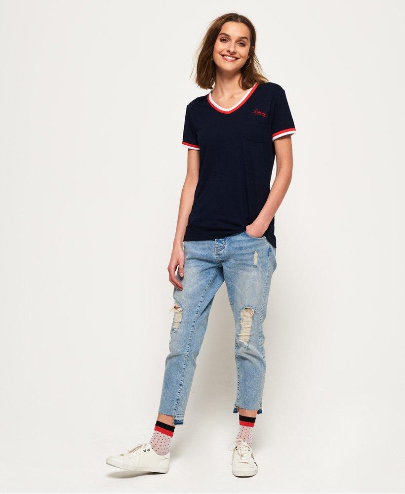 Superdry Retro V hals T skjorte Dame T skjorter
