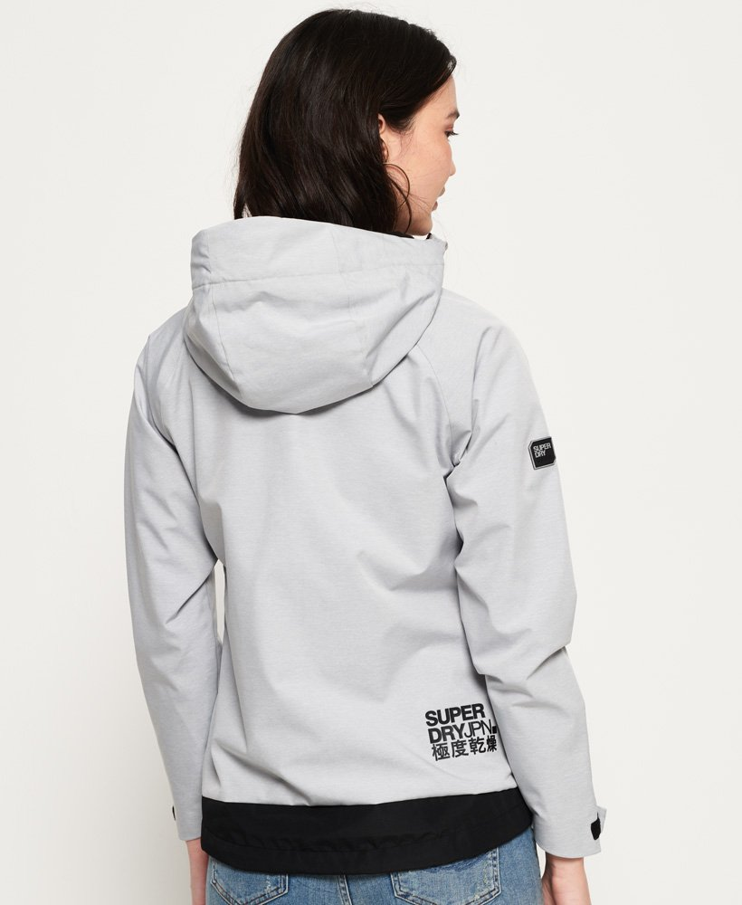Superdry Jacket Ladies Elite Windcheater Light Grey Marl Black
