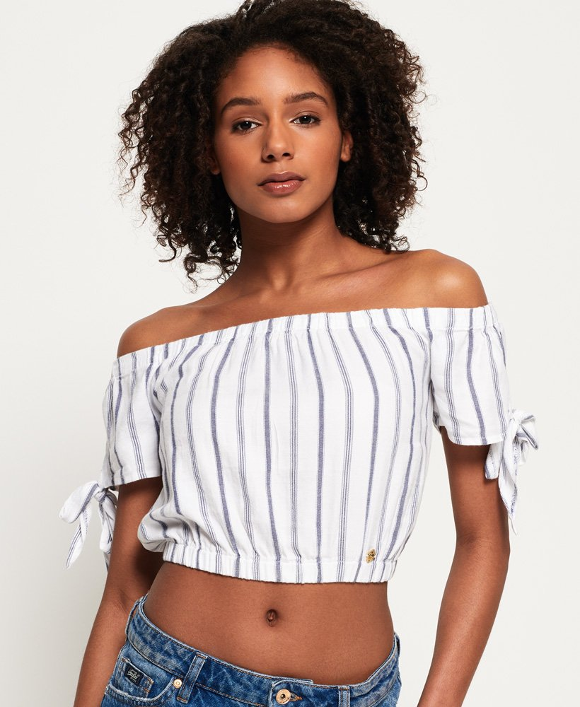4a4ef12bbda Womens - Amiee Bardot Top in White Blue Stripe | Superdry