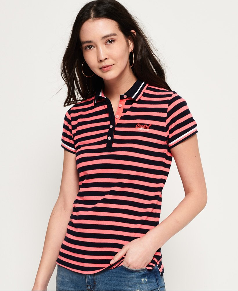 so cheap multiple colors cheap Womens - Pacific Stripe Polo Shirt in Marina Navy/fluro Pink ...