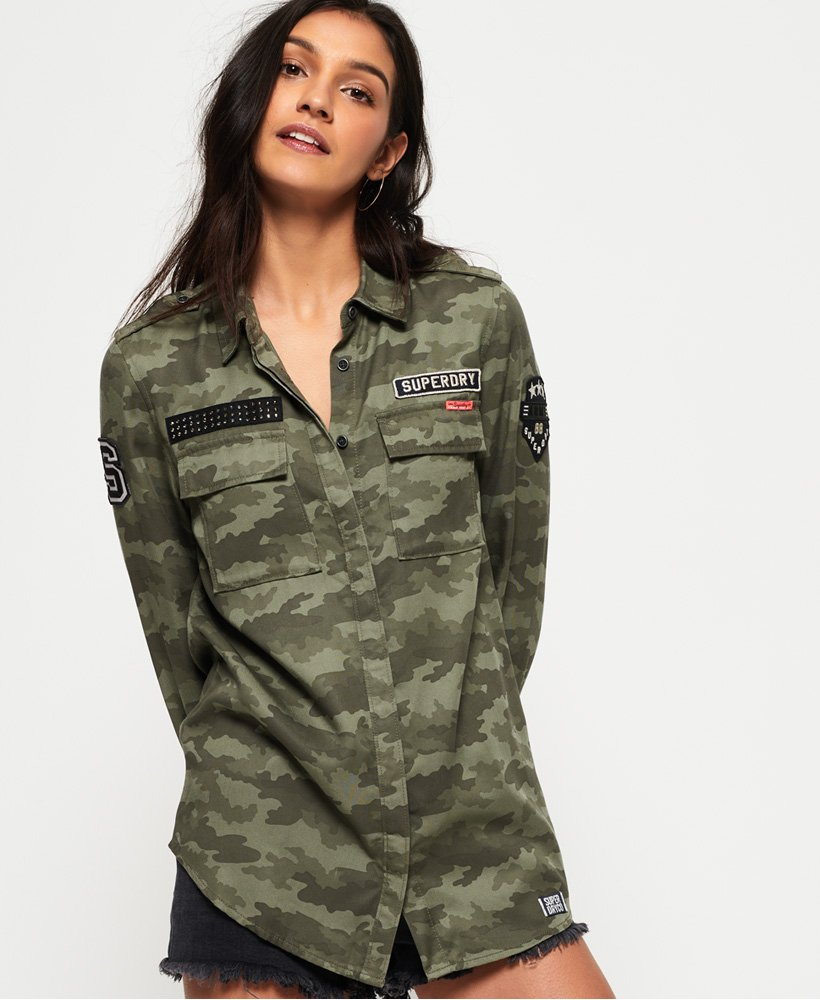 Para estrenar 4070c 84d1d Superdry Camisa militar Emma - Camisas para Mujer