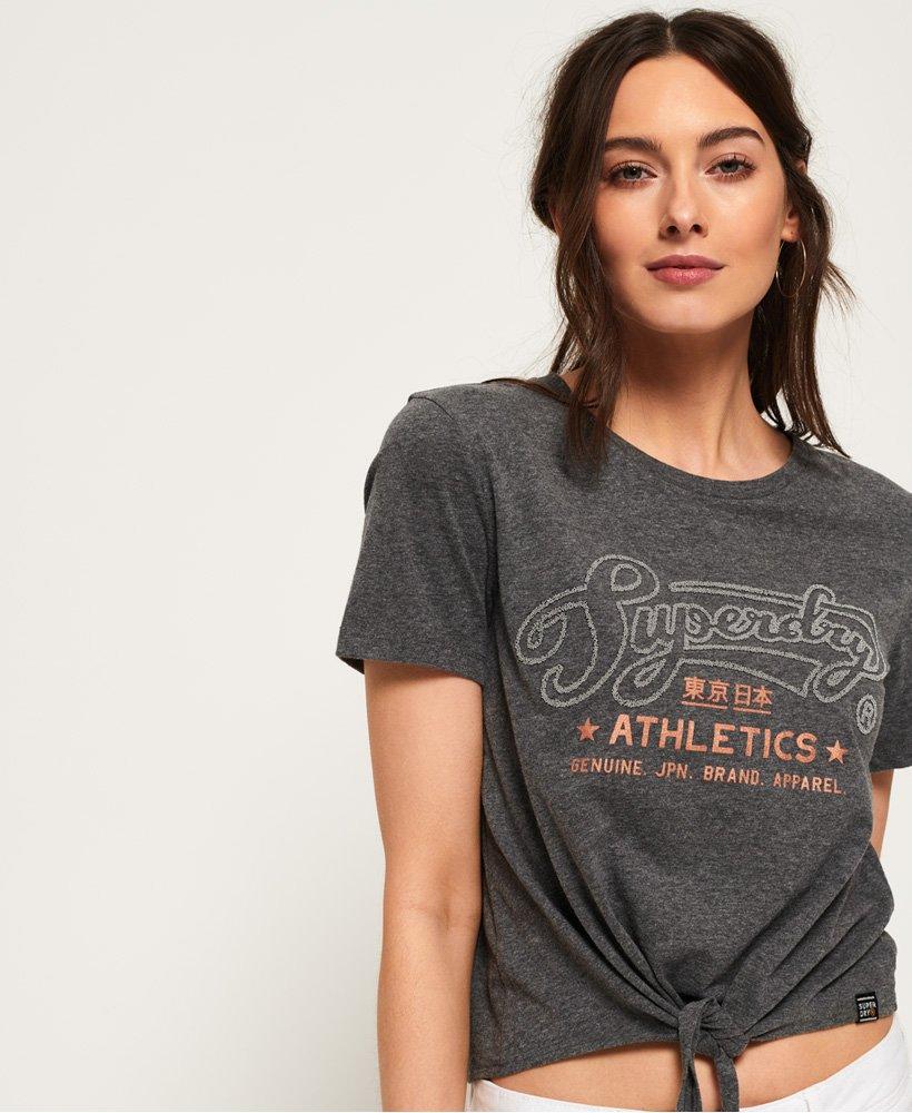 Superdry Athletics T shirt med bindedetalje foran Damer T