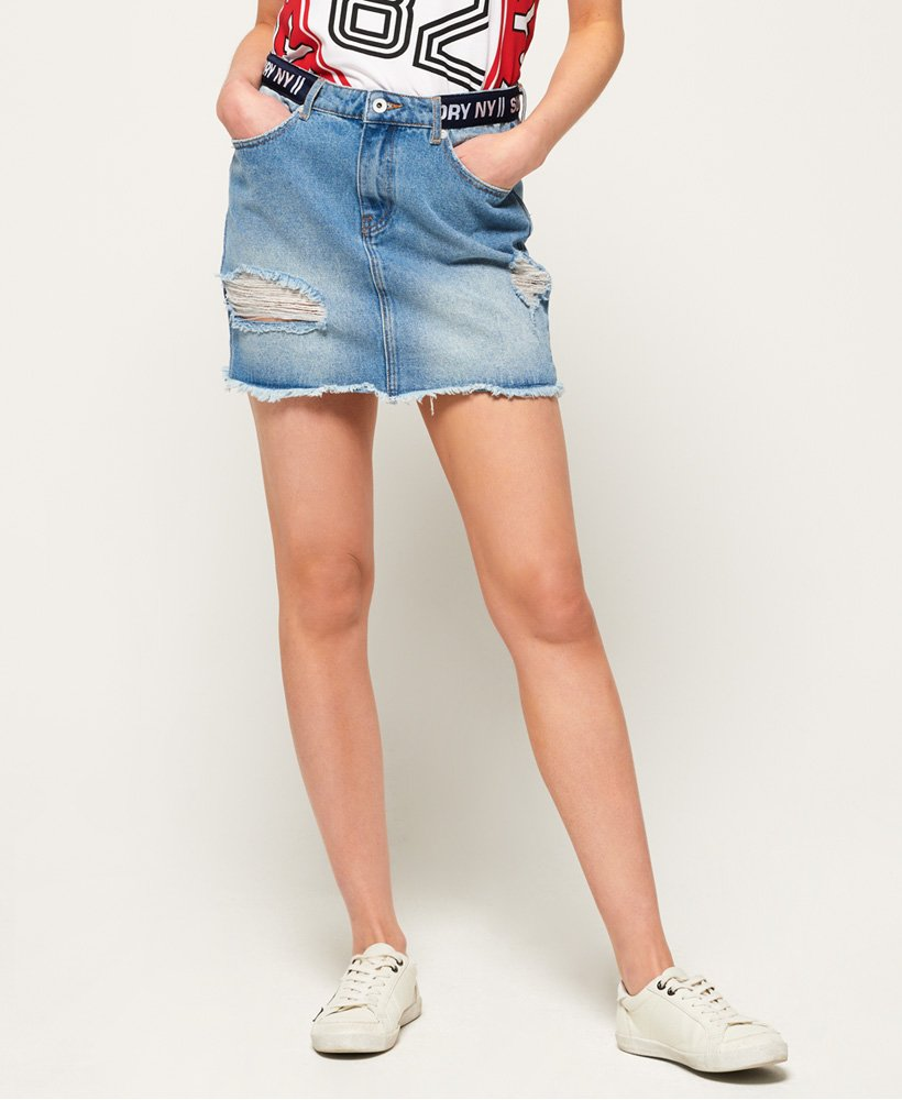 Superdry Minijupe avec ruban en jean