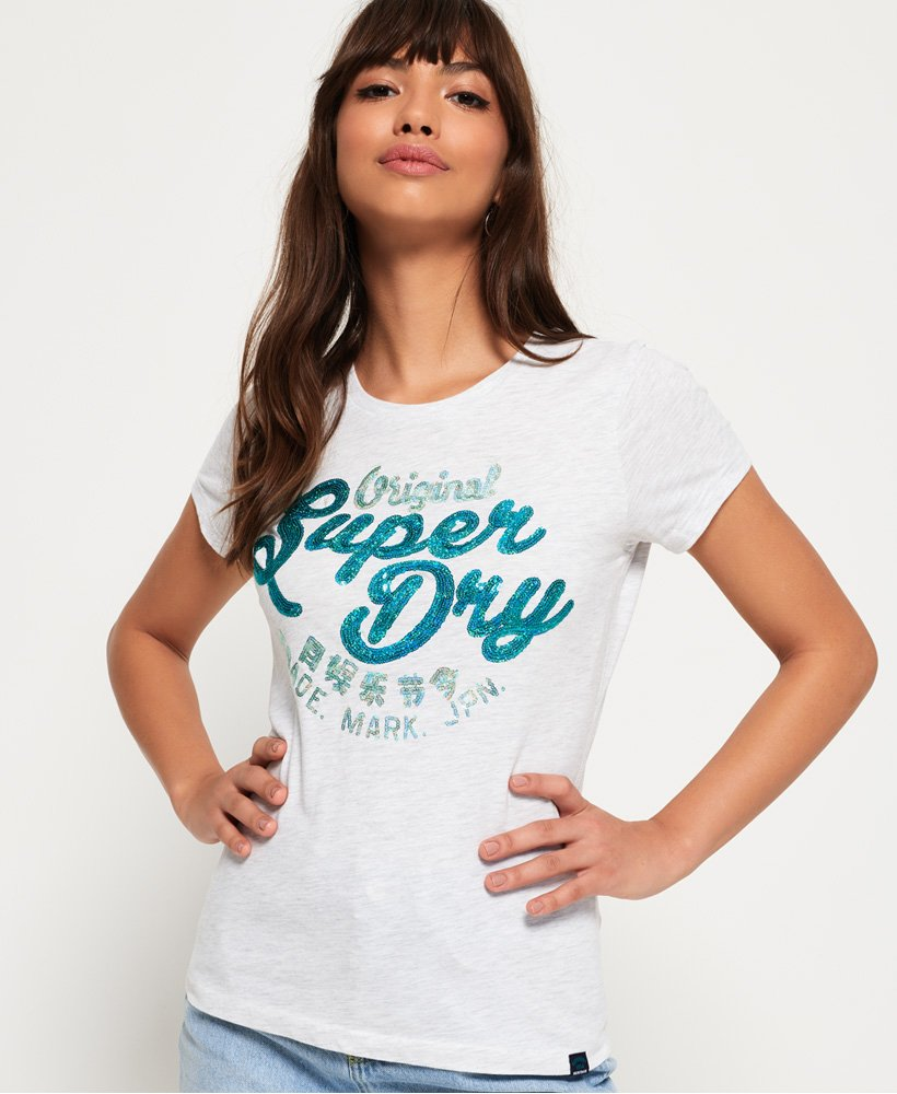 Superdry Original T-Shirt mit Paillettenbesatz