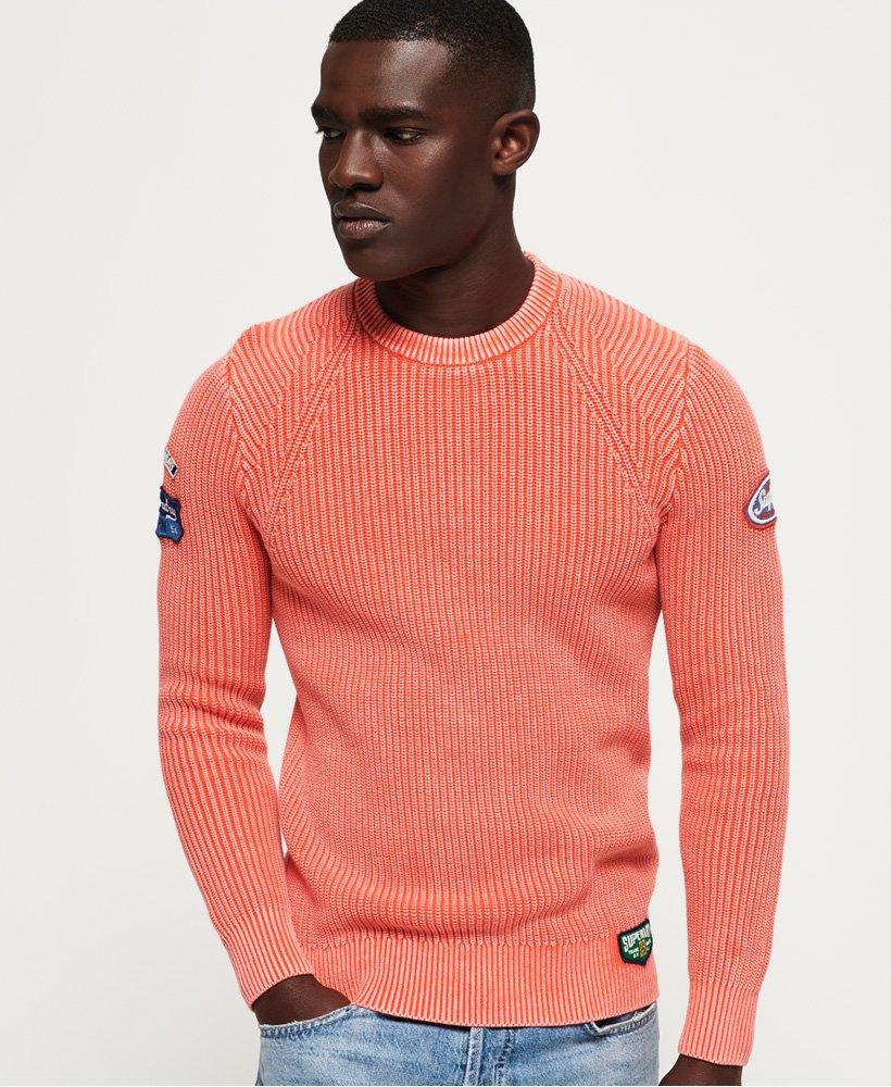 Superdry Pull à col rond texturé Garment Dye Wash pour Homme
