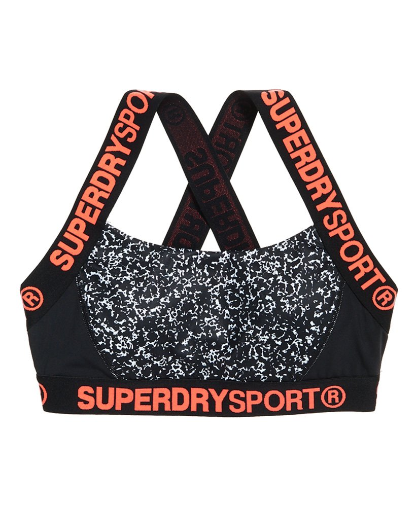 New Womens Superdry Colour Block Sports Bra White Noise