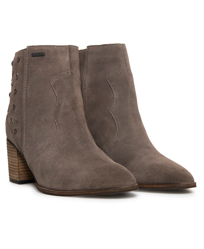 New Womens Superdry Grey Miley Ankle Suede Boots Zip
