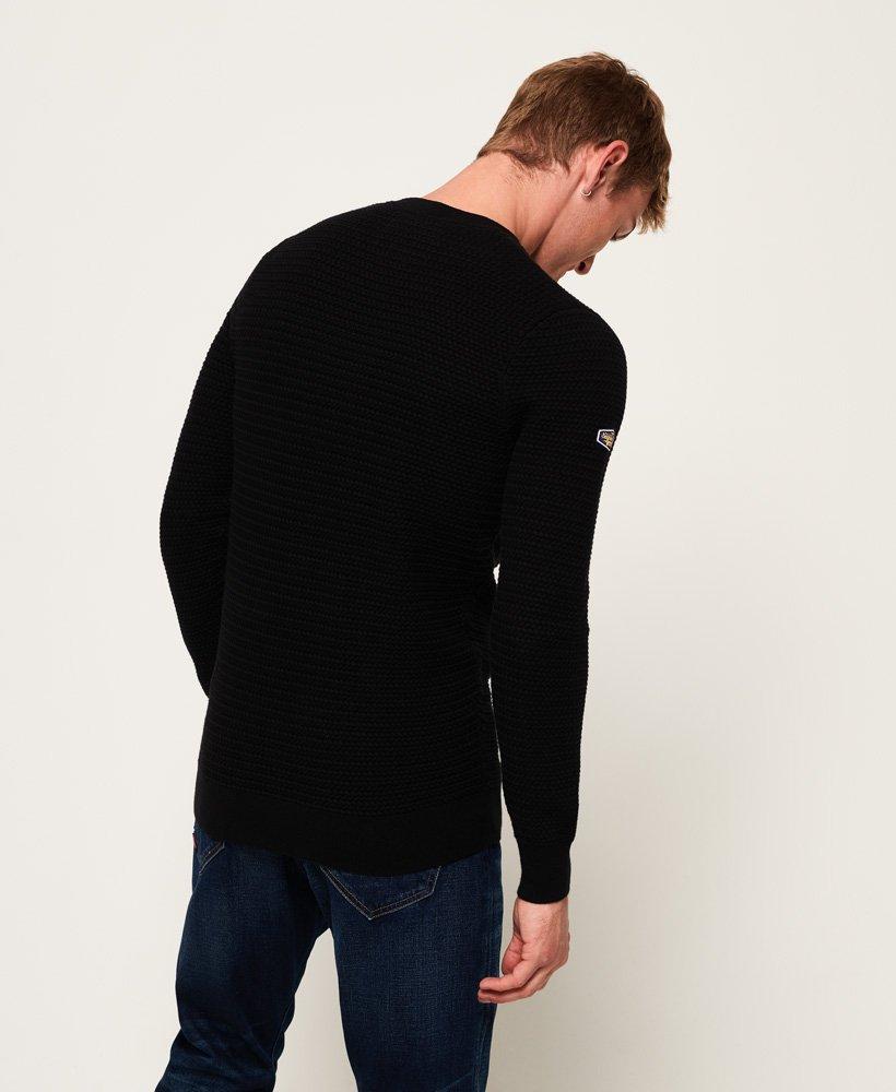 S-XXXL Superdry Men/'s Academy Textured Crew Neck Knit Cotton Jumper Black Sizes