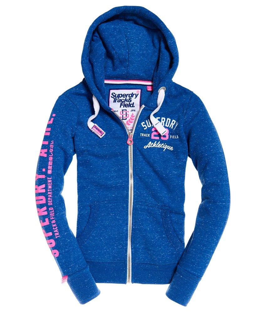 New Womens Superdry Track /& Field Zip Hoodie Pink Sorbet Snowy