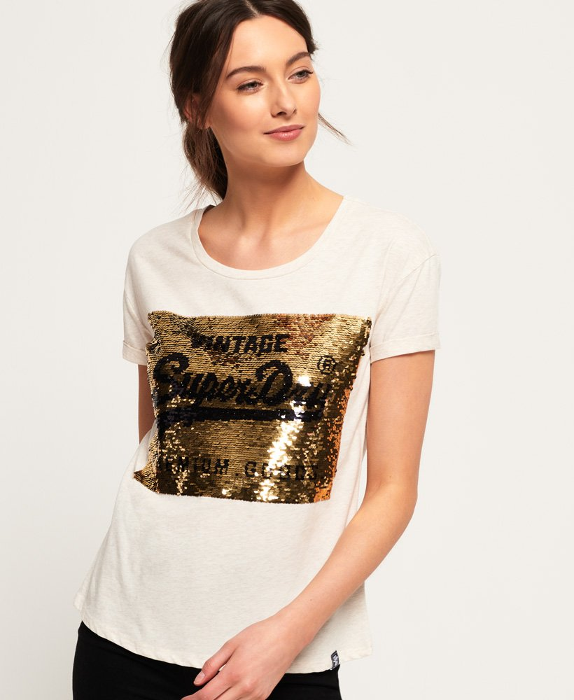 Superdry Premium Sequin Slim Boyfriend T-Shirt