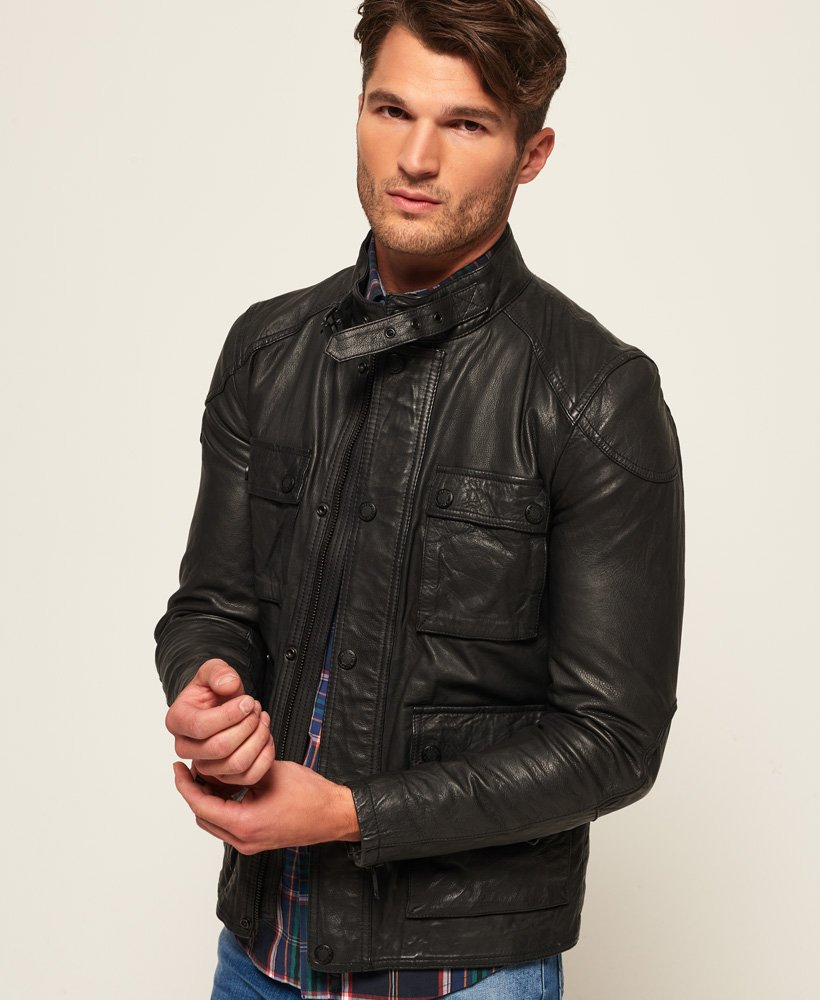 42af54d3d7aa Mens - Rotor Leather 4 Pocket Jacket in Black | Superdry