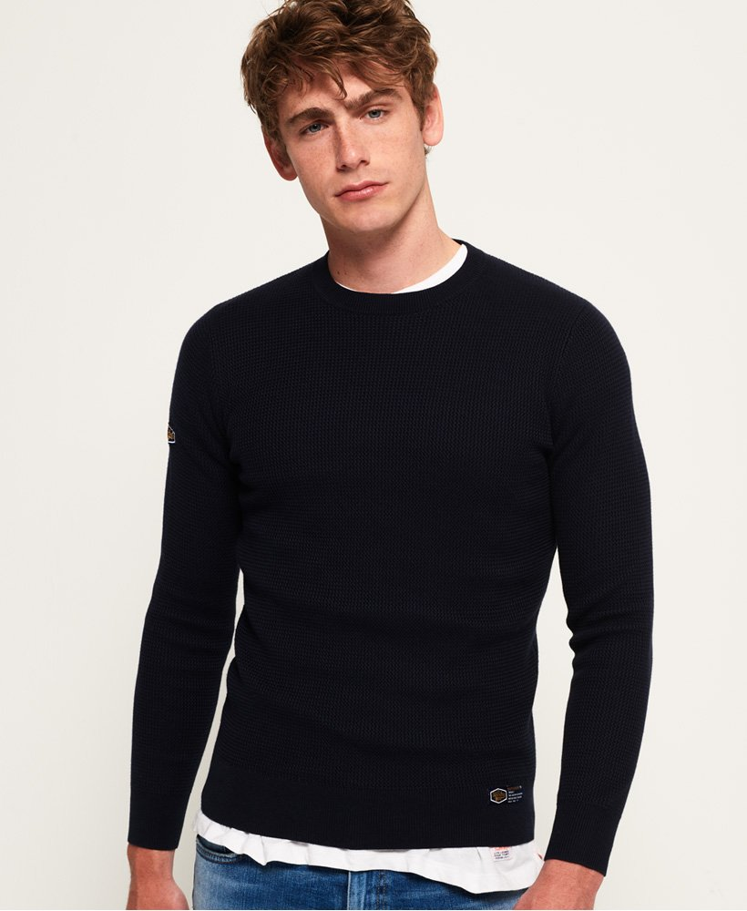 Superdry Academy Textured Crew Neck Jumper thumbnail 1