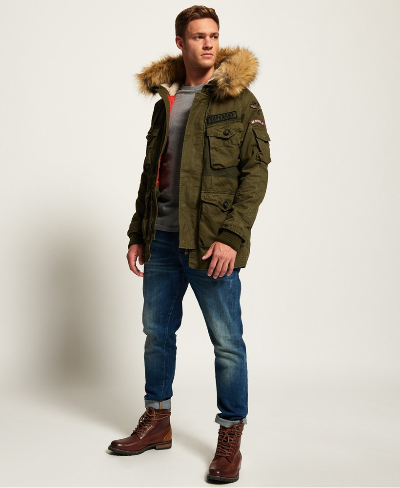 Mens Rookie Heavy Weather Parka Jacket in Dirty Khaki