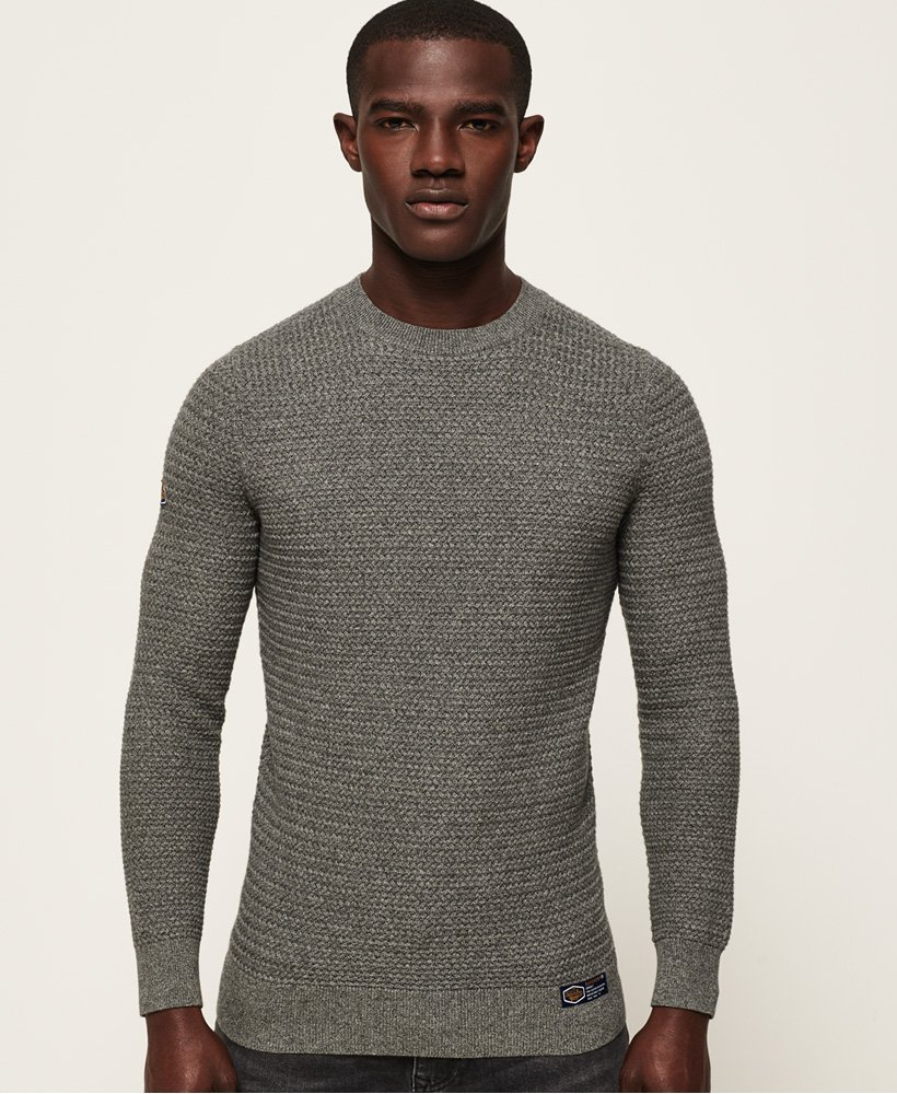 a0a79f8b0140 Mens - Academy Textured Crew Neck Jumper in Dark Charcoal