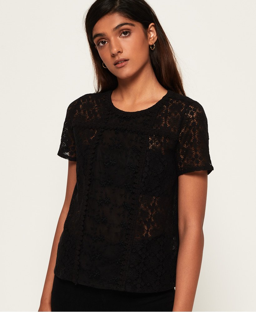 Superdry Ella lace Panelling T-Shirt
