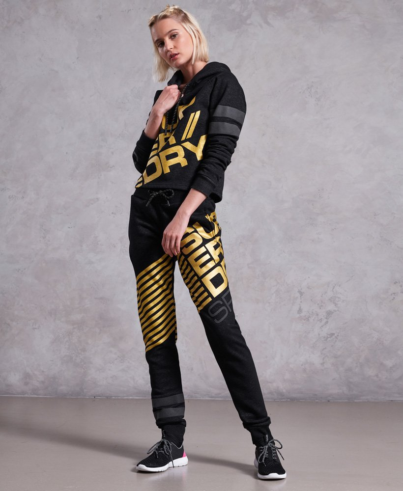 Superdry Diagonal Black And Gold Joggers