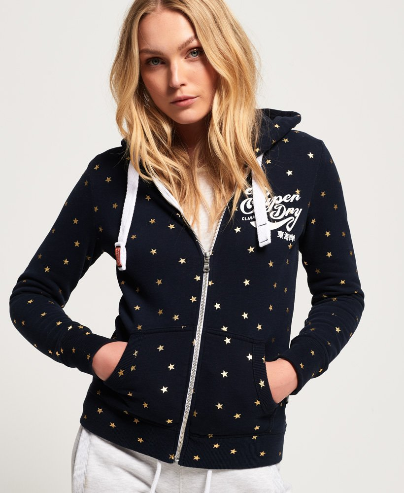 Superdry Classic Script All Over Print Zip Hoodie thumbnail 1