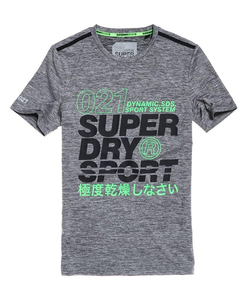 5fe4e2097 Mens - Active Graphic T-Shirt in Monogranite Marl/fluro Green | Superdry