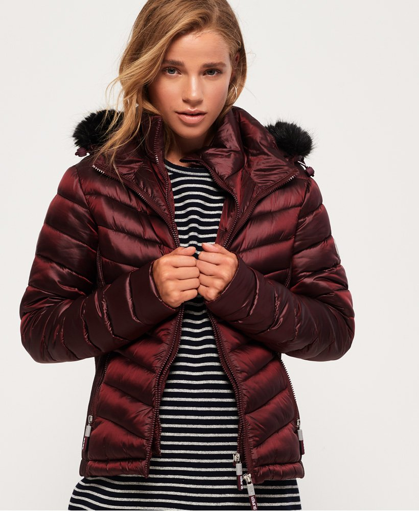Hooded Luxe Chevron Fuji Jacket by Superdry