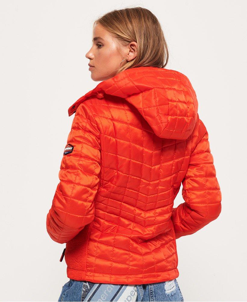 Womens Nova Box Quilt Fuji Jacket In Fire Red Superdry